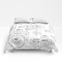 Grey Cameras Comforters