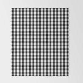 Classic Black & White Gingham Check Pattern Throw Blanket
