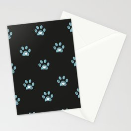 Cute blue doodle paw prints with hearts Stationery Cards
