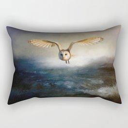 An owl flies over the lake Rectangular Pillow