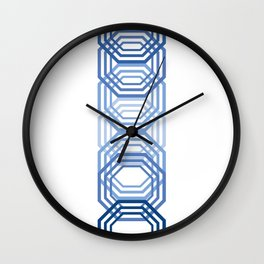 Blue Hexagons Wall Clock