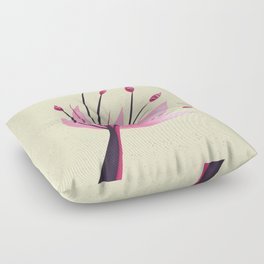 Pink Abstract Water Lily Flower Floor Pillow