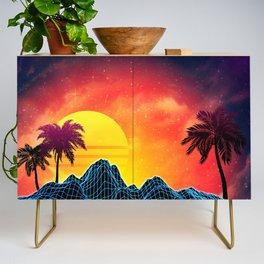 Sunset Vaporwave landscape with rocks and palms Credenza