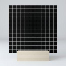 Grid Pattern Line Stripe Black and White Minimalist Geometric Stripes Lines Mini Art Print