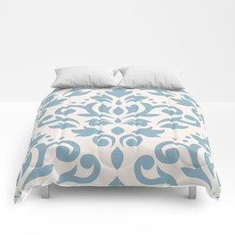 Scroll Damask Large Pattern Blue on Cream Comforters