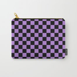 Black and Lavender Violet Checkerboard Carry-All Pouch