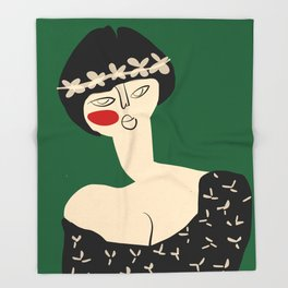 Girl with flower crown Throw Blanket