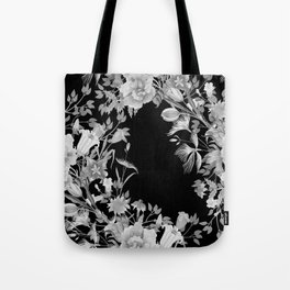 Stardust Black and White Floral Motif Tote Bag