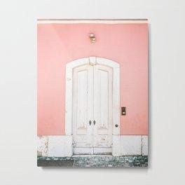 The Lisbon door   Pink on white fine art travel photography print   Portugal Europe Metal Print