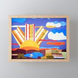 Fabric Sunset Landscape Collage Framed Mini Art Print