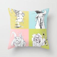 4 Little Animals Throw Pillow