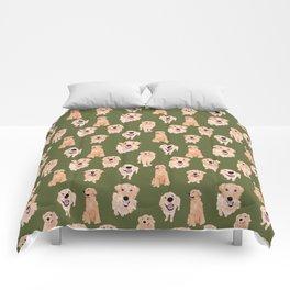 Golden Retriever on Green Comforters