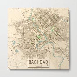 Baghdad City Map of Iraq - Old Vintage Metal Print