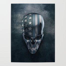 American Flag Skull Poster