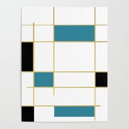 MidCentury Modern Art Aqua Gold Black Poster