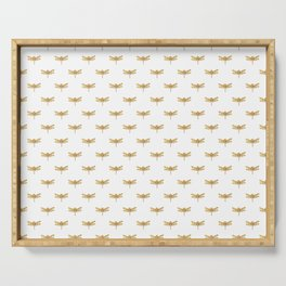 Golden Dragonfly Repeat Gold Metallic Foil on White Serving Tray
