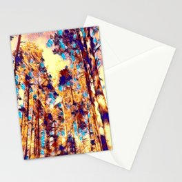Neon pine forest sky Stationery Cards