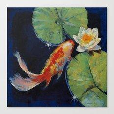 Koi and White Lily Canvas Print