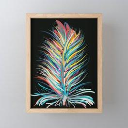 Rainbow Feather Peaceful Design Framed Mini Art Print