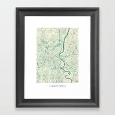 Hartford Map Blue Vintage Framed Art Print