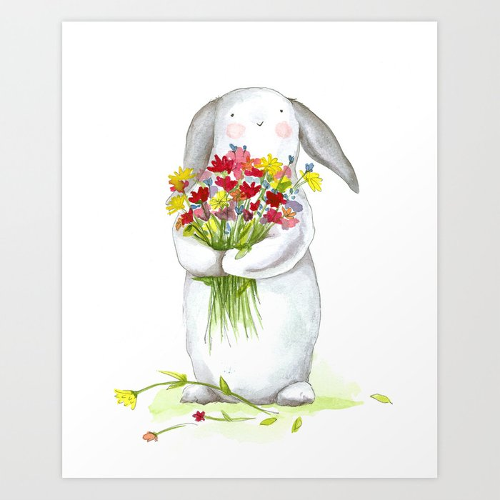 Sunday's Society6 | Flower bunny art print