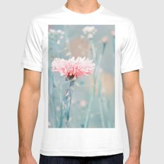 Pink pastel cornflower White Mens Fitted Tee MEDIUM