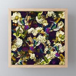 hummingbird paradise ethereal autumn flower pattern fn Framed Mini Art Print