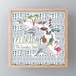 Handpainted Watercolor Map of Florida Framed Mini Art Print