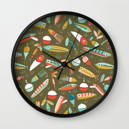 Fishing Lures Green Wall Clock