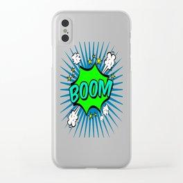 Boom Blue Boom Clear iPhone Case