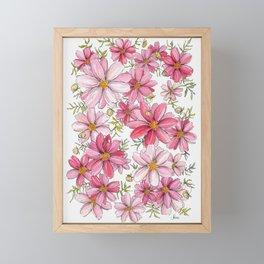 Pink Spring Flower Pattern Framed Mini Art Print