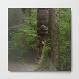 Mysterious Solitary Totem Pole in Remote Alaskan Forest Metal Print