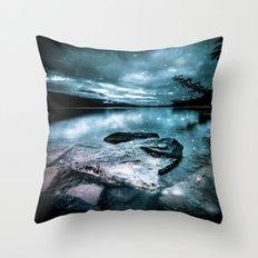magical mountain lake Throw Pillow