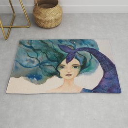 Watercolor Mermaid Blue Green Hair Rug