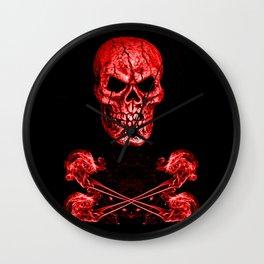 Skull And Crossbones Red Wall Clock