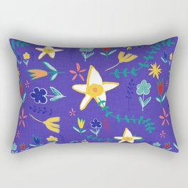 Floral The Tortoise and the Hare is one of Aesop Fables blue Rectangular Pillow