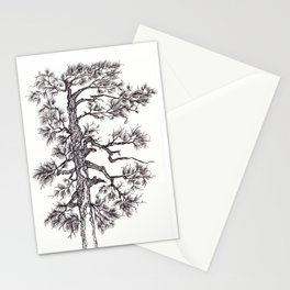 Black ink pine tree Stationery Cards
