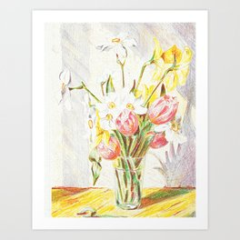 Tulips and Daffodils in a vase Art Print