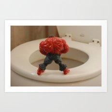 Red Hulk Go Potty Art Print