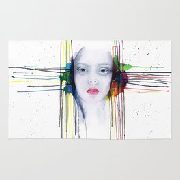 'Futility' Watercolour and Ink Portrait Illustration Rug