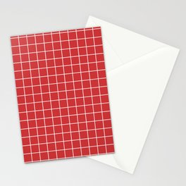 Madder Lake - red color -  White Lines Grid Pattern Stationery Cards