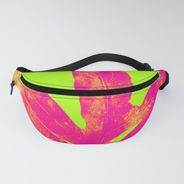 Green and Ultra Bright Coral Fern Fanny Pack