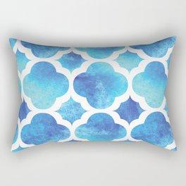 Watercolor Moroccan Quatrefoil Clover Trellis in Turquoise Sea Rectangular Pillow