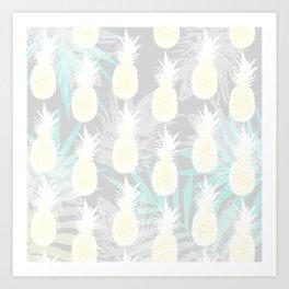 Elegant Pineapple Tropical Beach Pattern Art Print