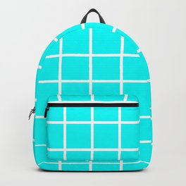 GRID DESIGN (WHITE-CYAN) Backpack