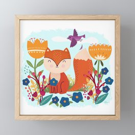 A Fox In The Flowers With A Flying Feathered Friend Framed Mini Art Print