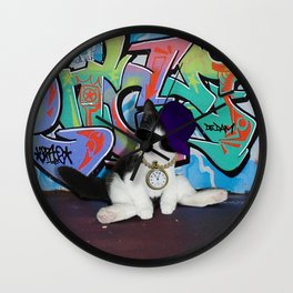 Cat Attitude.....Kitten and Graffiti Wall Wall Clock