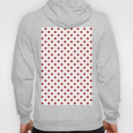 Small Polka Dots - Firebrick Red on White Hoody