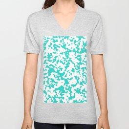 Spots - White and Turquoise Unisex V-Neck