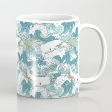 Whales and waves pattern Mug